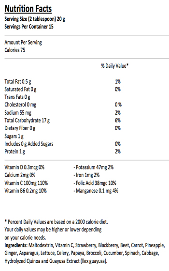 Energy Guayusa + Quinoa Smoothie Nutrition Facts