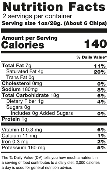 Green Plantain Lightly Salted Nutrition Facts