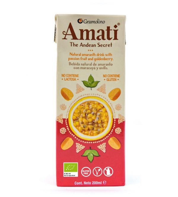 Natural Amaranth drink with Passion Fruit and Goldenberry